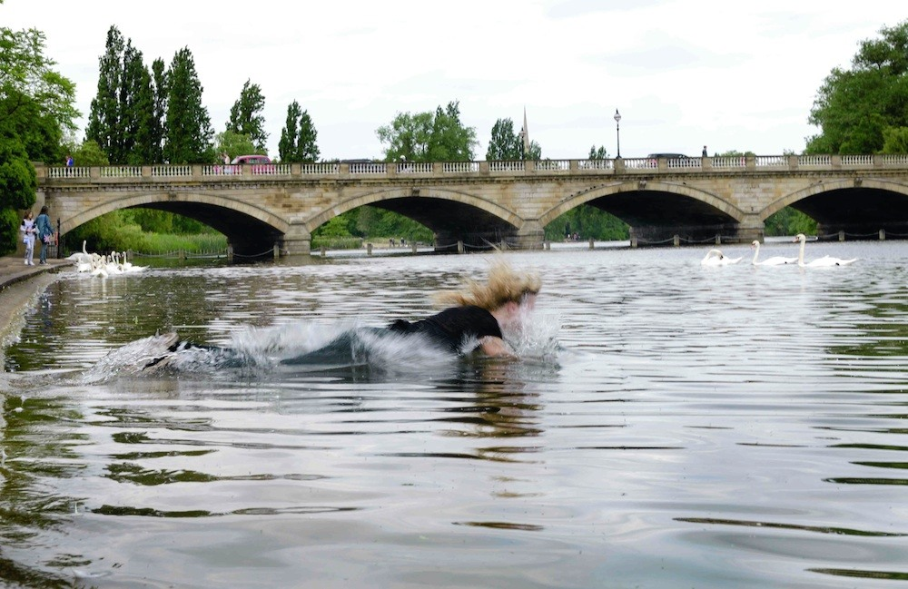 The artist swims in an urban body of water. There is a bridge in the background.