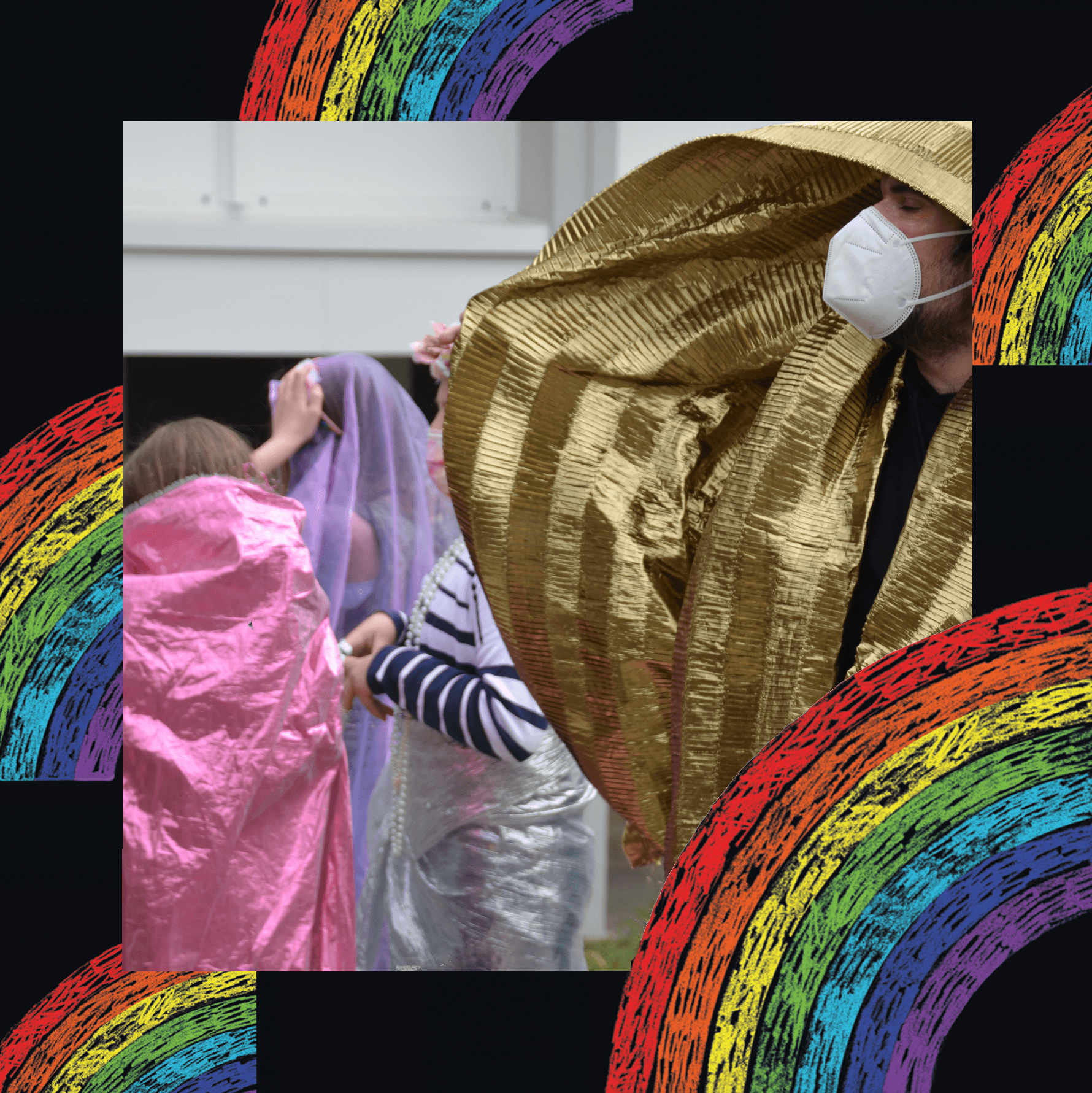 A photographic image of peoplewrapped in metallic fabric. The person nearest the camera is wearing gold fabric, and a white face mask - they are in profile. Four others can be seen in the background, wearing pink, purple and silver fabric, their heads turned away. The image sits on a black background with rainbow illustrations