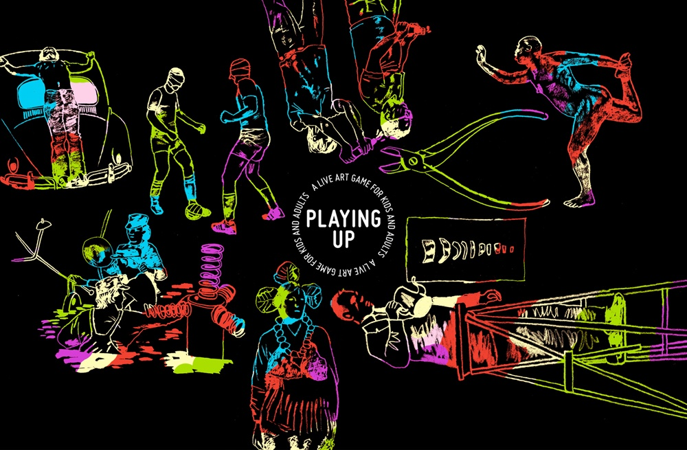 The illustrated artwork on the PLAYING UP Box.