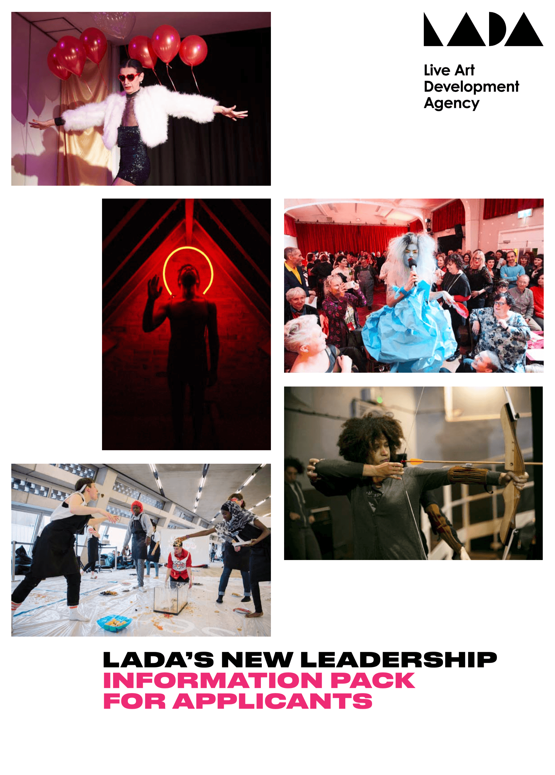 Images from LADA commissioned works and text 'LADA's new leadership'