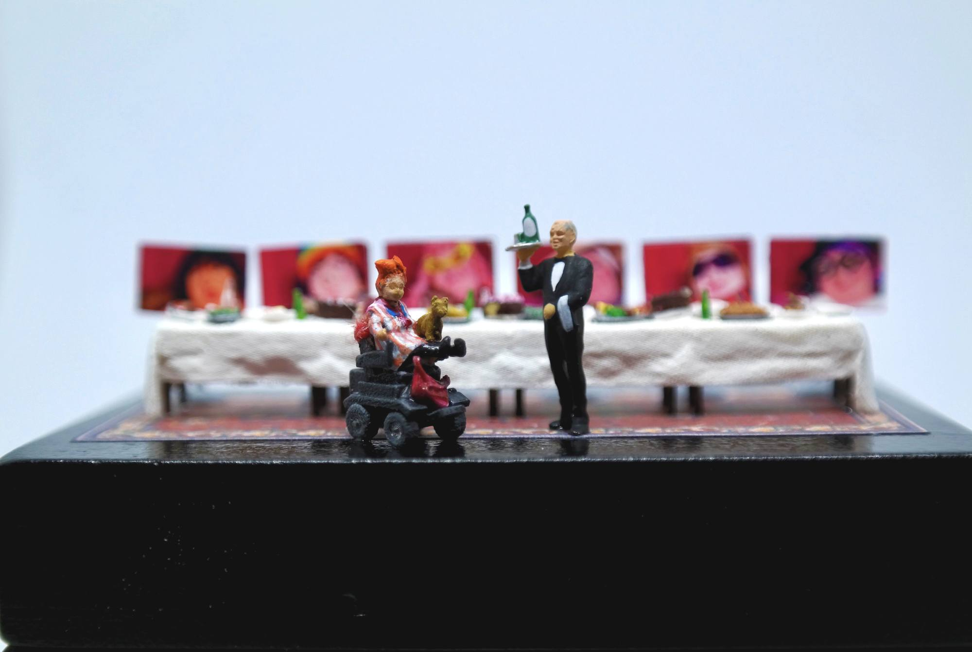 A miniature model of Katherine Araniello's work 'The Dinner Party Revisited'.