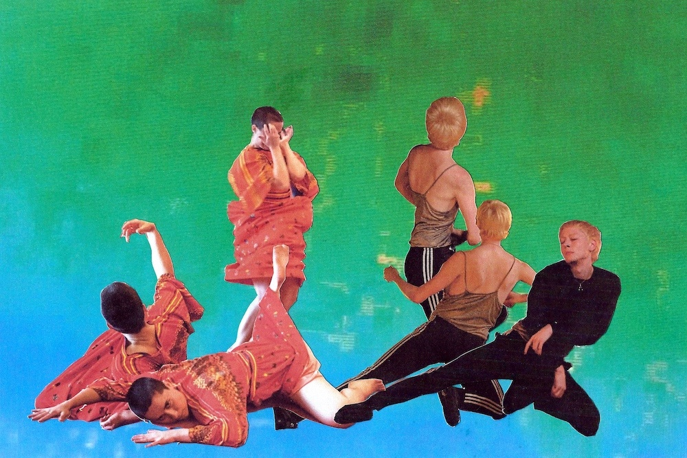 Collage featuring multiple images of the artists dancing on green and blue background.