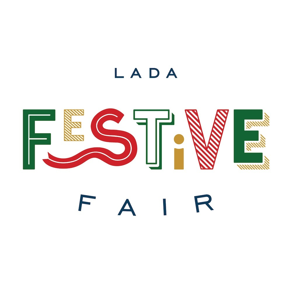 Text stating LADA Festive Fair in festive colours