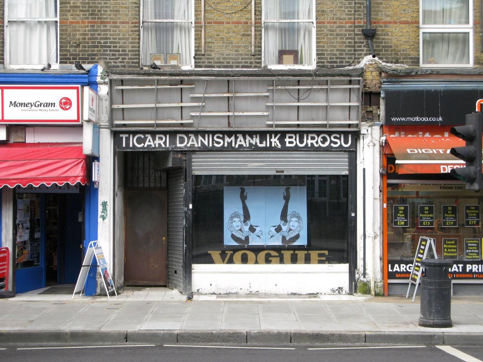 Vogue Fabrics, Dalston, London, shop window front