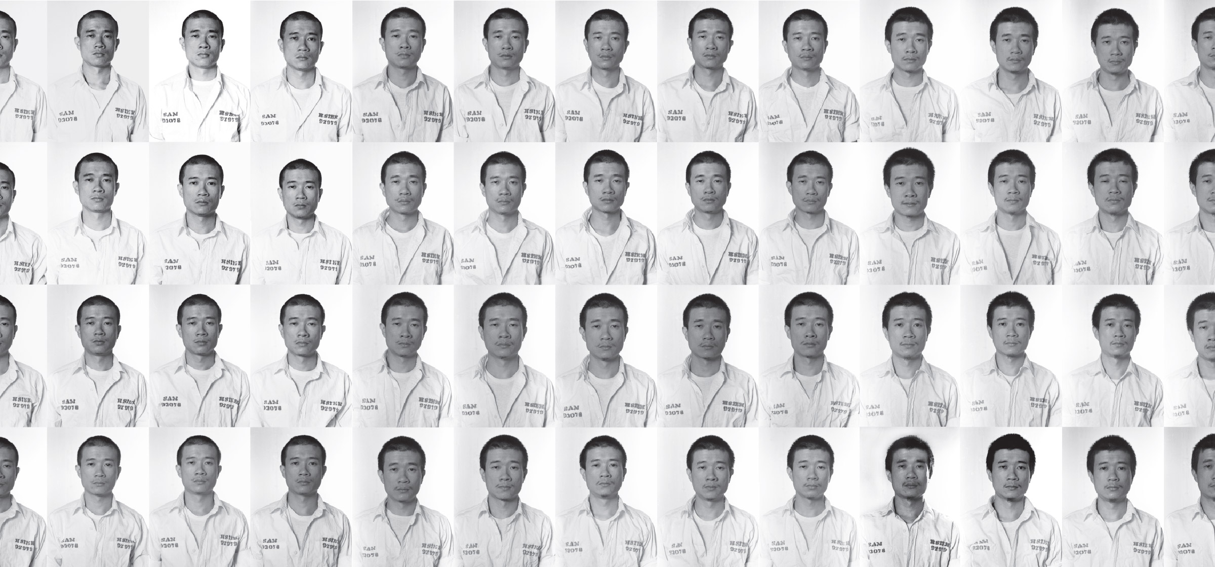 Several black and white portrait photos of Tehching Hsieh from his book Out of Now