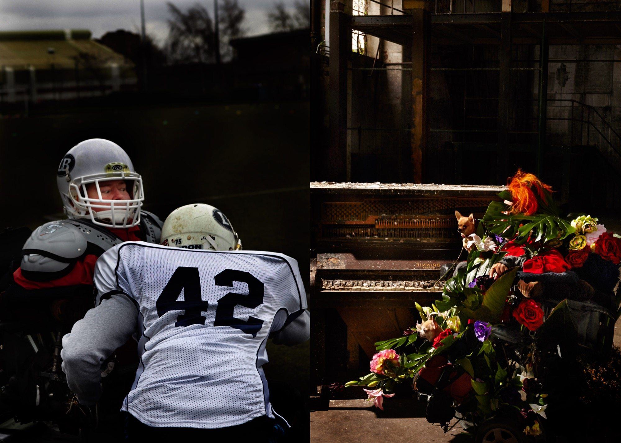 A composite image: Katherine Araniello and Aaron Williamson playing american football left hand side; right hand side katherin araniello covered in flowers