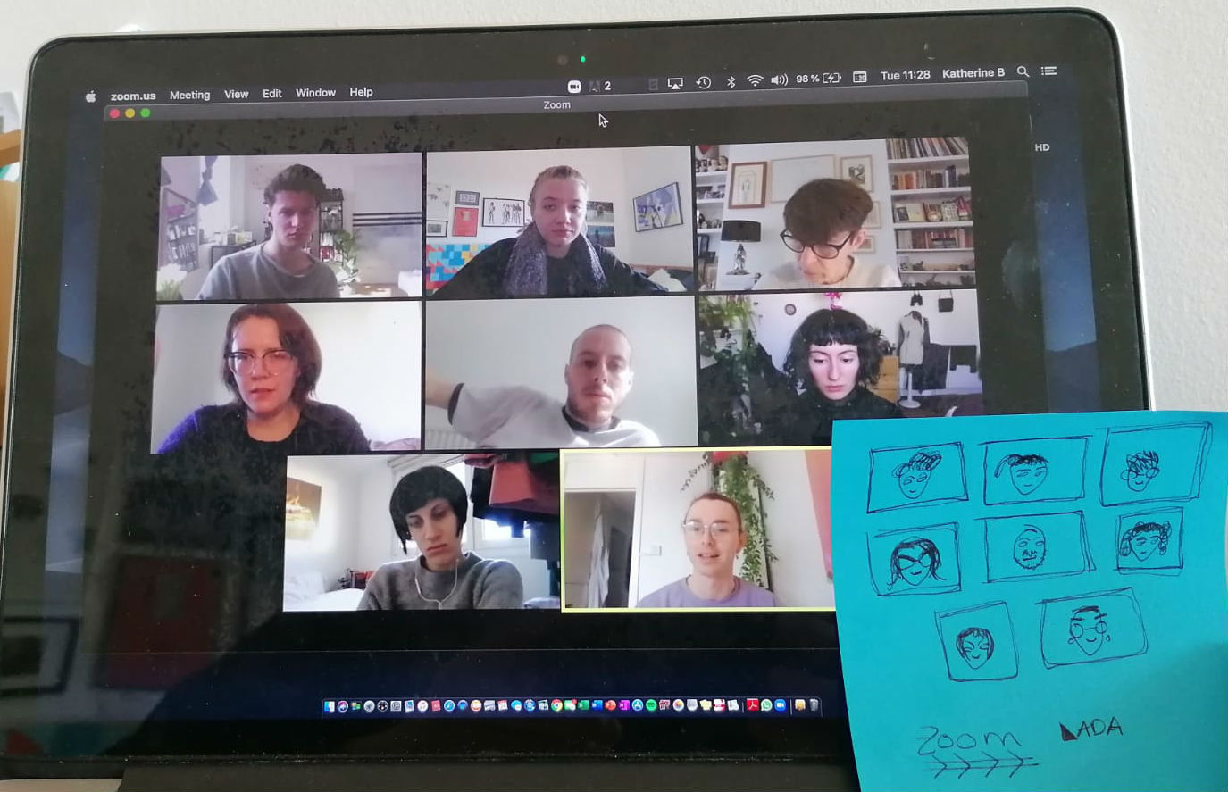 An image of laptop screen with the LADA team in a zoom meeting, accompanied by a drawing of the team.