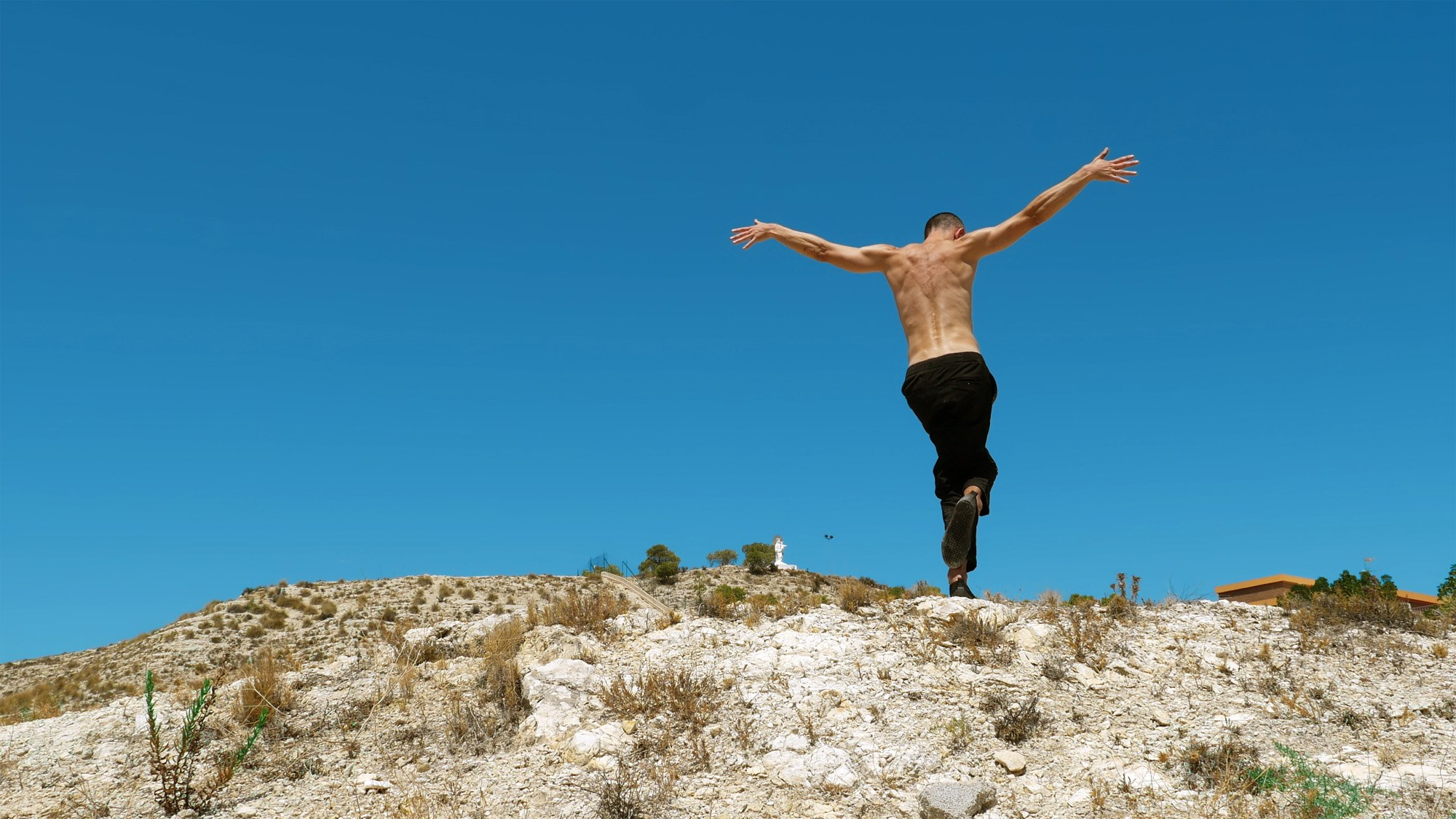 A shirtless man dances with his back to the camera. His arms are extended, christ like. He is in the desert, beneath a big blue sky.