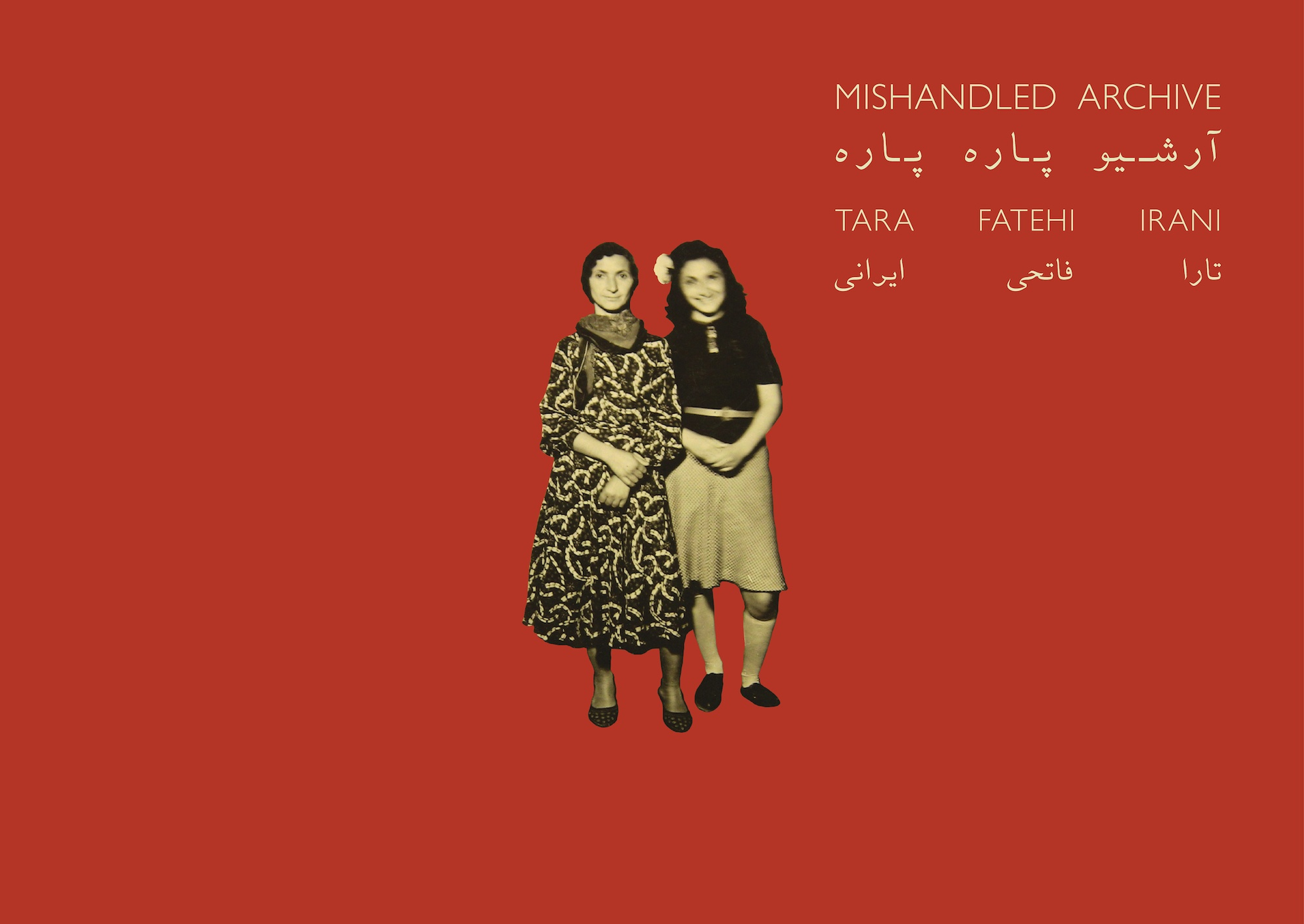 An image of the cover of 'Mishandled Archive', an archival cut out of two irani women on a red background.