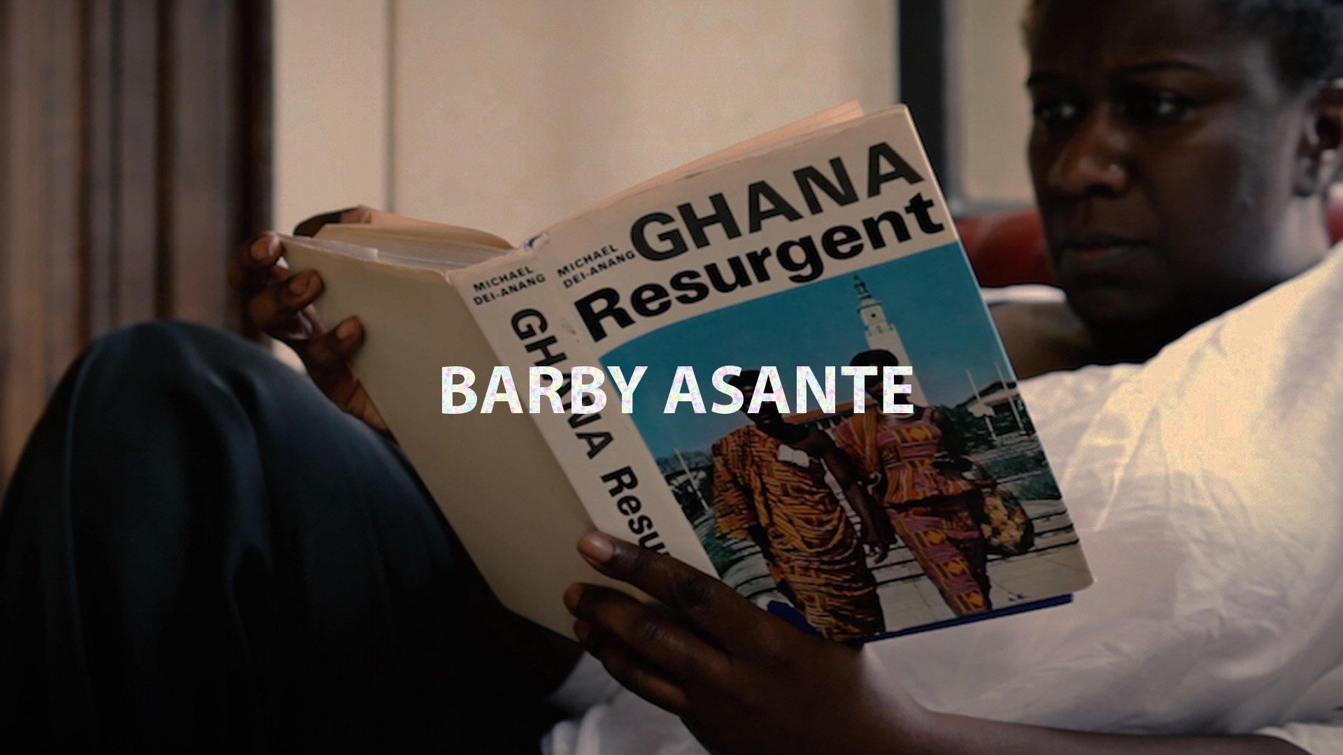 The artist reads a book titled 'Ghana Resurgent'