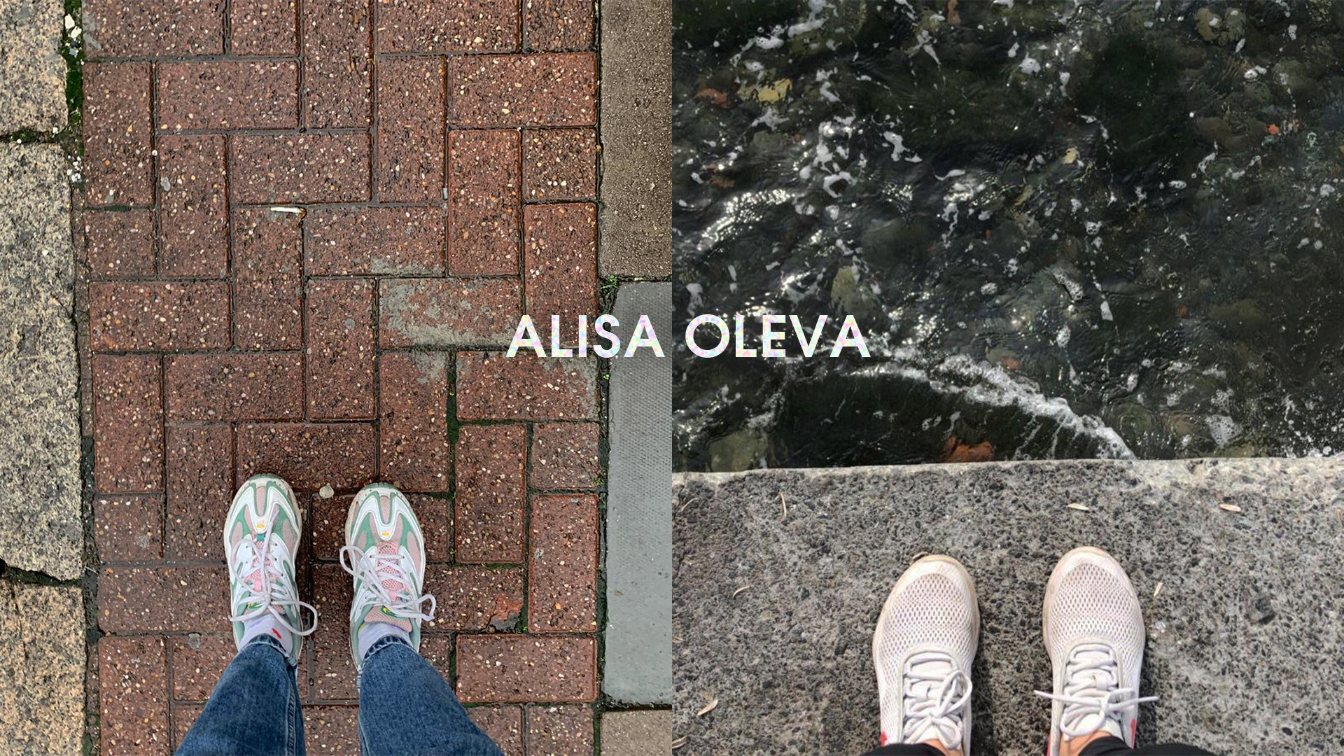 Two pictures of peoples shoes, on the left they are standing on the pavement, the shoes on the right are on concrete by the edge of water.