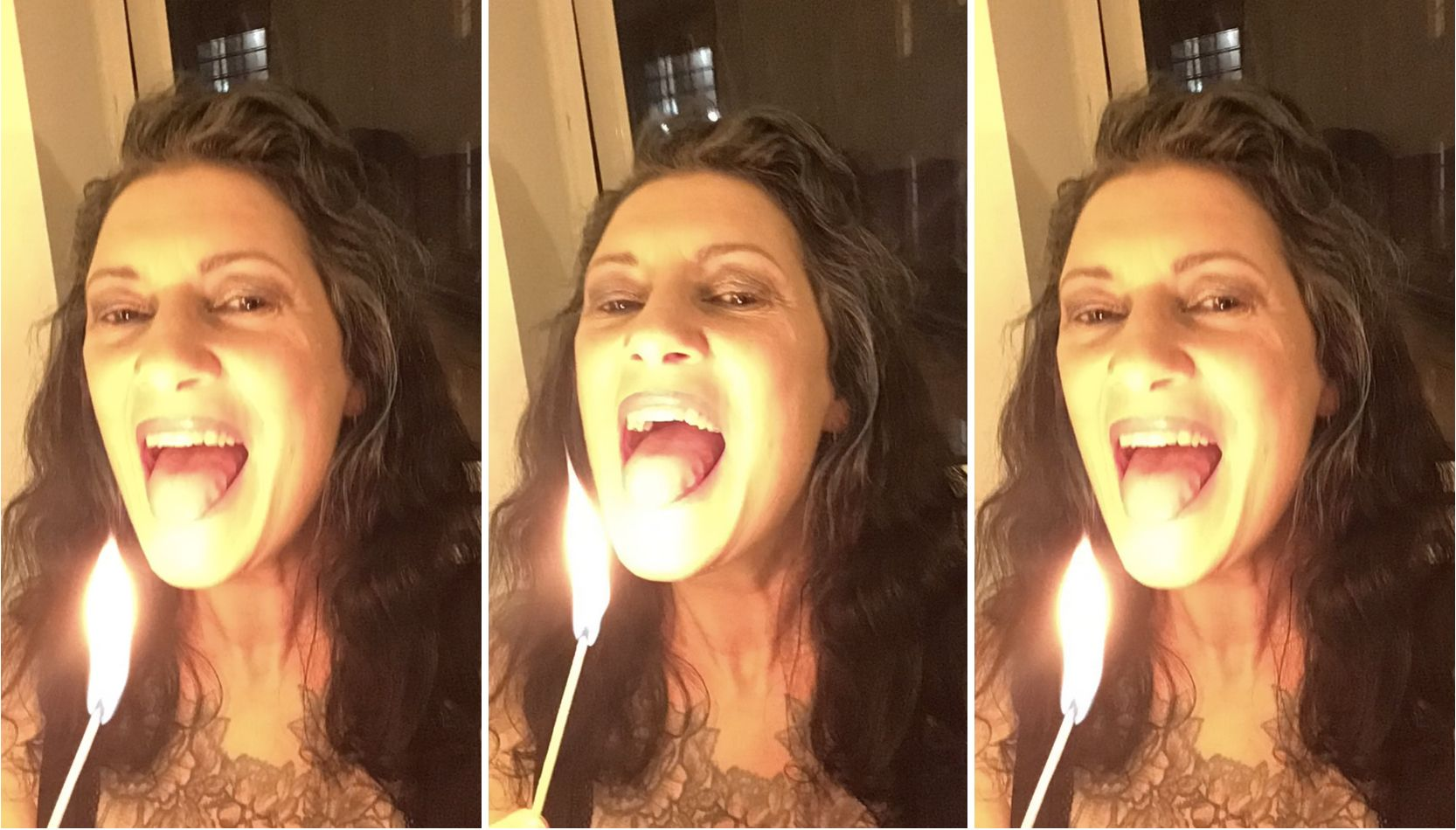 a composite triptych of three images of Jet, a femme person with black hair holding a flae to their mouth.